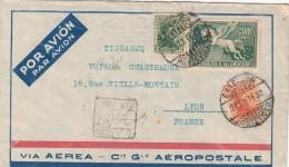 1932 LETTRE URUGUAY  COVER PEGASUS 30c  REGISTERED MONTEVIDEO  TO LYON FRANCE  VIA AEREA AÉROPOSTALE  / 7842 - Uruguay