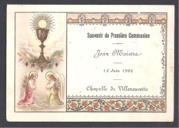 Souvenir De Première Communion VILLENEUVETTE  ( Hérault ) 1904 - Images Religieuses