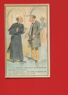 Jolie Chromo Lithographie Sicard Humour Homme D'église Curé Mariage Carême Fiancée Maigre Dot - Trade Cards