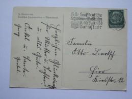 GERMANY Erste Grossdeutsche Schwimmeisterschaften Darmstadt 1938 SLOGAN POSTMARK - Germany