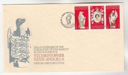 1978 ST CHRISTOPHER Nevis ANGUILLA FDC Anniv CORONATION , HERALDIC FALCON, PELICAN Bird Stamps Royalty Cover Birds - Eagles & Birds Of Prey