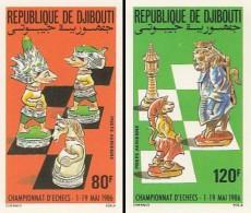 IMPERF. Djibouti 1986 - Chess - YT A.229-30, Mi 477-8 B - Gibuti (1977-...)