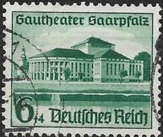GERMANY 1938 Opening Of Gautheater And Hitler´s Culture Fund - Saarpfalz Gautheater, Saarbrucken - 6pf.+4pf. - Green  FU - Gebraucht
