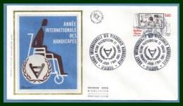 FDC Silk Soie Année Int. Personnes Handicapées 1981 N° 2173 - FDC