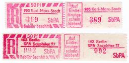 """DDR 2 Einschreibzettel """"Gebühr Bezahlt"""" Berlin, Karl Marx-Stadt, Beide Postfrisch - Feinst/pracht"""