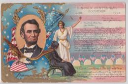 ABRAHAM LINCOLN CENTENNIAL SOUVENIR 1809 1909 - Embossed Ppc - Flag - Eagle - Présidents