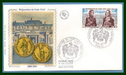 FDC Silk Soie Préparation Du Code Civil 1973 N° 1774 Bonaparte - FDC