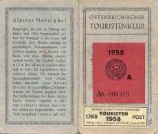 MITGLIEDSKARTE ÖSTERREICHSCHER TOURISTENKLUB 1958 - Historische Dokumente