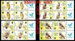 2011 - Wwf Owls Set In Block Of 4 With Lable - IRAN - W.W.F.
