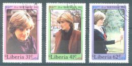 LIBERIA - USED/OBLIT - 1982 - PRINCESS OF WALES DIANA - Yv 942-944 - Lot 14474 - Liberia