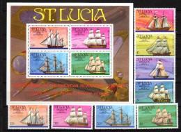 St. Lucia 1976  Ships, US Bicentennial  Set Of 8 + S/s MNH - Bateaux