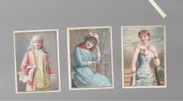 Chromo Fin XIXè - Série De 6 - Femmes En Toilette, Art Nouveau - Verso Vierge , Couleurs Fraiches - Chromos