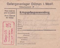 Guerre 45 Enveloppe Pré-imprimée CAMP DE PRISONNIER DÜLMEN ALLEMAGNE Gefangenenlager - CENSURE 25 > France - Lettre - Documents