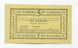 Hongrie Hungary Ungarn 5 Korona 1919 SAROSPATAK - UNC  Note / Notgeld - Ungarn