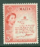 Malta: 1956/58   QE II - Pictorial    SG272   3d    MH - Malta (...-1964)