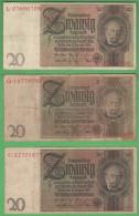 Germania Weimar Lotto 6 Pezzi 10 + 20 Mark Reichsbankonote  1929 - [ 3] 1918-1933 : Weimar Republic