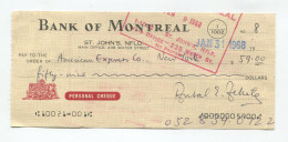 """Canada 1967 - 1968 4x """" CHEQUES """"  Stamped & Signed - Canada"""