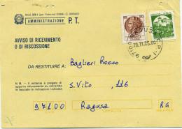 A537 1985 Avviso Di Ricevimento Con 100 Lire Siracusana + 450 Lire Castelli Per Macchinette - 6. 1946-.. Republic