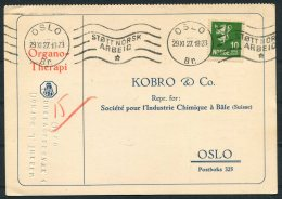 1927 Norway Organo Therapi Medical Advertising Postcard Oslo Stott Norsk Arbeid - Norway
