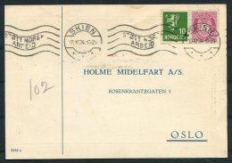 1934 Norway Chemist Medical Advertising Postcard Skien Stott Norsk Arbeid - Norway