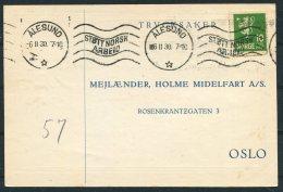 1930 Norway Chemist Medical Advertising Postcard Alesund Stott Norsk Arbeid - Norway
