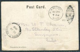 1908 USA New Bedford Mass. Postcard - Penang To Singapore - United States
