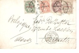 TP 11-20-21-22 S/CP C.Oudjda 2/5/1906 V.Bruxelles Belgique C.d´arrivée 6/5/1909 PR3370 - Morocco (1891-1956)