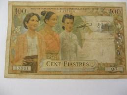 Billet De 100 Piastres. 1953. - Indochine