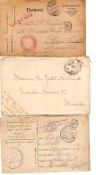 6 Documents CP&Lettres PDG/POW Münster-Spandau PMB-BPL-Fieldpost V.Famille à Schaerbeek PR3372