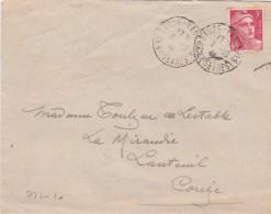 Yvert 806 Gandon Seul  Sur Lettre Cachet SAUZE VAUSSAIS Deux Sèvres 8/10/1948 - Lettres & Documents