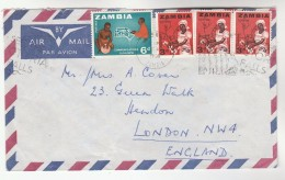1966 Air Mail ZAMBIA Stamps COVER To GB - Zambie (1965-...)