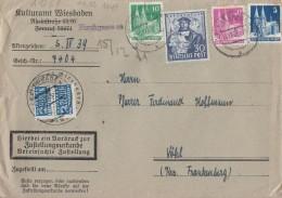 Bizone Brief Zustellungsurkunde Mif Minr.75wg,90wg,80eg,105 Wiesbaden 14.12.49 - Bizone
