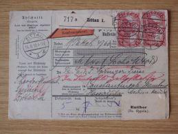 14.08.1918, AUSLANDS-NACHNAHME-PAKETKARTE Von ZITTAU, RATIBOR (Bz. OPPELN) Nach CONSTANTINOPEL - Cartas