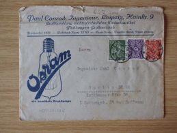 26.10.1922, BELEG Von OSRAM, DIE BEWÄHRTE DRAHTLAMPE, GLÜHLAMPEN-GROßVERTRIEB Mit STEMPEL Von LEIPZIG - Cartas