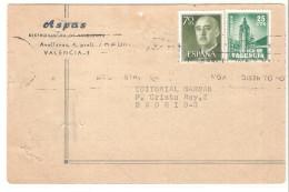 Tarjeta Circulada De Valencia 1966 Con Sello Plan Sur. - 1961-70 Briefe U. Dokumente