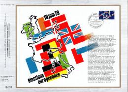 """FRANCE 1979 : Feuillet CEF 1er Jour N°té De 1979 N° 501 """" ELECTIONS EUROPEENNES / DRAPEAUX """". N° YT 2050 - Flags"""