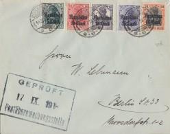 Rumänien  Brief Mif Minr.8-12 Bukarest 14.9.18 Zensur - Besetzungen 1914-18