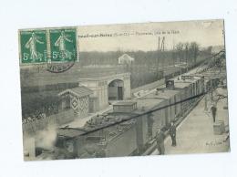 CPA Décollée , Abîmée - Verneuil Sur Seine - Panorama Pris De La Gare -  (train , Locomotive ) - Verneuil Sur Seine