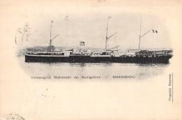 """Cpa De La Compagnie Nationale De Navigation Bateau Navire """" Chodoc """" Timbre Indochine 1904 Dos Non Partagé Viet Nam - Dampfer"""