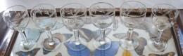 319/191  SERVIZIO N. 6 BICCHIERI ANNI 50 MOLATI A MANO CRISTALLO BICCHIERE CALICE PER DESSERT - Glasses
