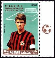 AJMAN 1969. FOOTBALL. MILAN. RED OVERPRINT. 1V ** 2018 Ih - Equipos Famosos