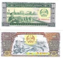 Laos - Pick 30, 31 - 100, 500 Kip 1979, 1988 - Unc - Set 2 Banknotes - Laos