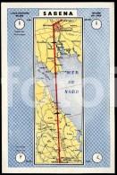 OLD  POSTCARD SABENA AIR LINES MAP LONDON BRUSSELS BELGIQUE CARTE POSTALE - Zonder Classificatie