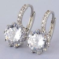 Orecchini Laminati In Oro Bianco 18 K Con Zirconi - Earrings