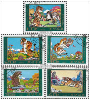 """North Korea Stamp 1985 Fable Fairy Tale """"hedgehog Played Tiger"""" 5 Full Used Set (lot - 16- 1003) - Corea Del Nord"""