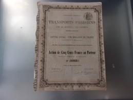 Compagnie Generale Des TRANSPORTS PARISIENS Par Le Materiel Des Omnibus (1876) - Aandelen