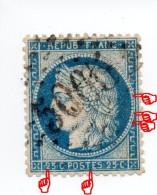 YT 60C - Cérès - Variété Surencrage (BEAU !) + Sur Les Perles - GC 5065 Soukaras Constantine - 1871-1875 Ceres