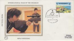 Enveloppe  FDC   1er Jour   GUERNSEY   Année  Internationale  Des  Personnes  Handicapées    1981 - Handisport