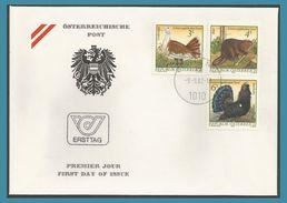 Autriche 1982 1546-48 FDC Animaux En Voie De Disparition Outarde Castor Coq De Bruyère Schützt Gefärdete Tiere Auerhahn - FDC