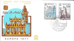 N°  1101 / 1102   -    EUROPA  MONACO   -  1977  -  FDC - FDC